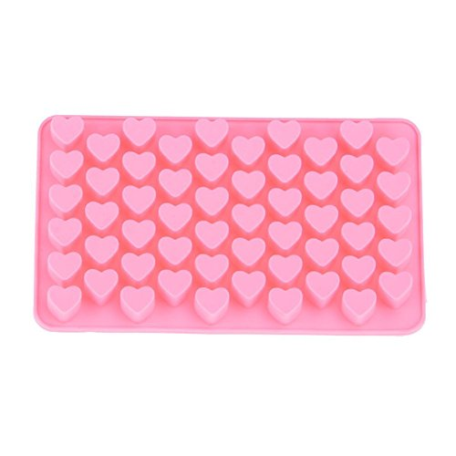 Creaon 55 Mini Love Chocolate Mold 3D Cookie Cake Mould Soap Cake Baking Silicone Mold Mould DIY Cupcake Liners Heat Resistant Reusable DIY Baking Tools Crafts for Christmas Gift Pink