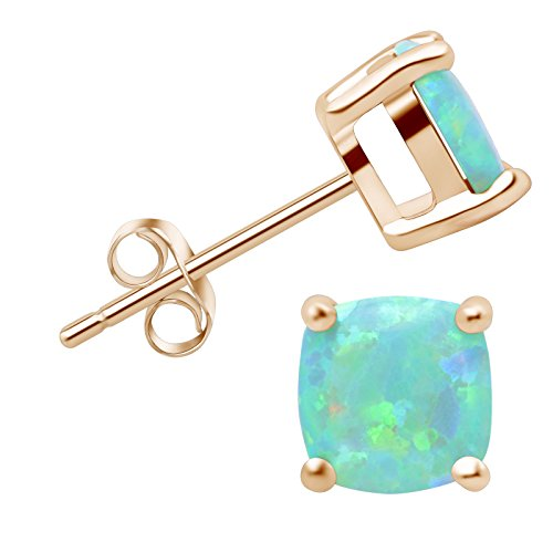 SilkRoad Yellow 18K Gold-plated 925 Sterling Silver Green Opal Stud Earrings Cusion Gemstone Gift for Women Daughter Graduation Season