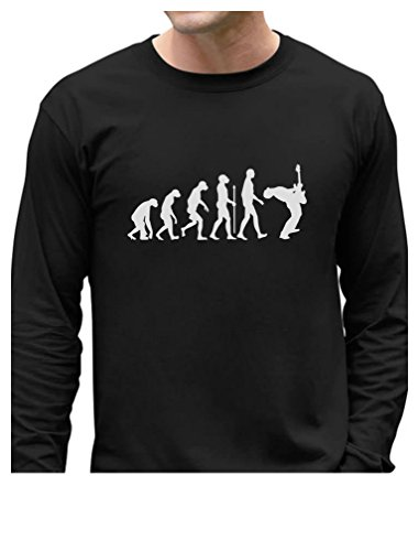 Tstars - Funny Musician Evolution of a Rock Guitarist Rocker Long Sleeve T-Shirt X-Large Black