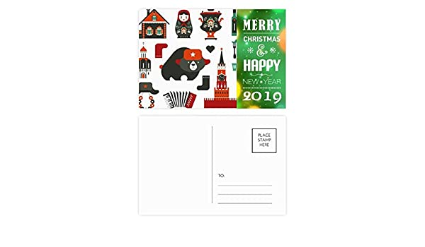 amazoncom bear vodka accordion doll russia 2019 new year postcard thanks card 20pcs office products