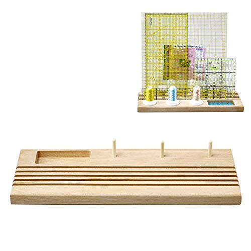 Jumpplay 5 Slot Quilting Wooden Ruler Rack with Spool Holder and Space to Store Pins Tacks Bobbins Rack Organizer