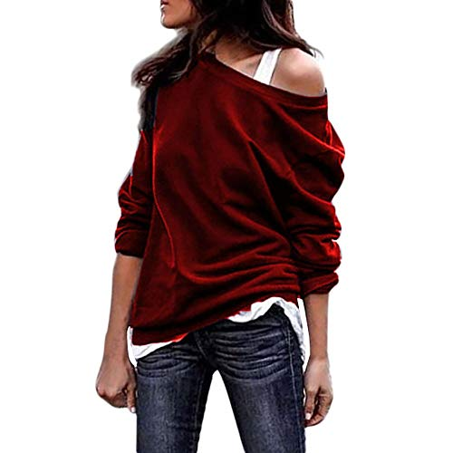 6f90133d908b5 Ulanda Women s Long Sleeve Sweatshirts Casual Oversized Baggy Off Shoulder  Shirts Pullover Tops Blouse