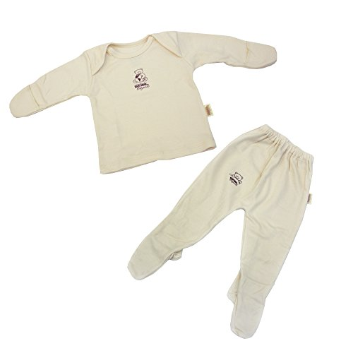 Baby Mink 100% Organic Cotton Pajama Set: L/S Gloved Shirt & Footed Pant 3-6mths