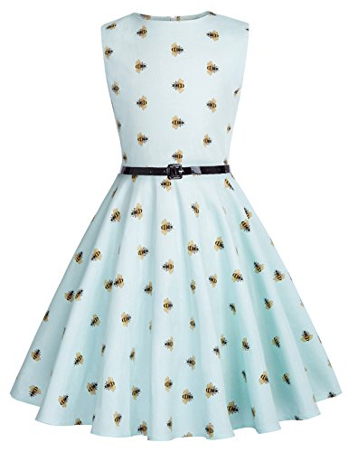 Kate Kasin Big Girls Bees Printed Vintage Dress Sleeveless Party Dress 6-7 Years