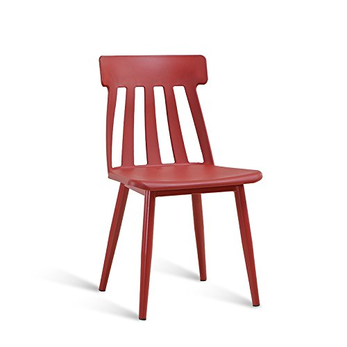 Simple and stylish restaurant bar chair / plastic back chair / creative office casual chair ( Color : Red ) by Xin-stool