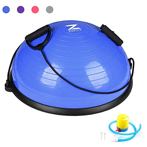 ZELUS Balance Ball Trainer Half Yoga Exercise Ball with Resistance Bands and Foot Pump for Yoga Fitness Home Gym Workout (Blue)