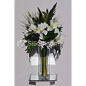 Silk Blooms Ltd Artificial White Fresh Touch Amaryllis and Dendrobium Orchid Vase Arrangement w/Foliage and Grass 107