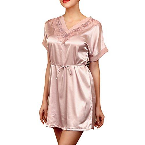 Zhhlinyuan Women's v-neck Satin Silk Lingerie Chemise Mini Night Dress SQ029 Champagne