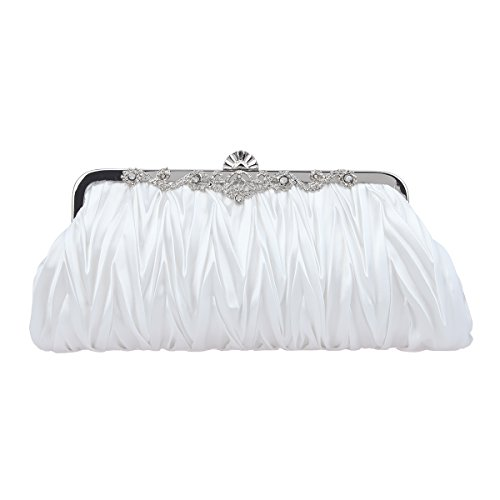 Fawziya Satin Pleated Clutch Purses For Women Evening Clutches For Wedding And Party-White