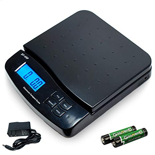 55 LB x 0.1 OZ High Precision Digital Postal Shipping Scale Durable Multifunctional Mailing Desk Top Scales with Large Base and Platform, Battery and Adapter Included