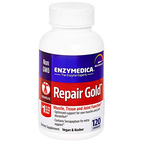 Enzymedica, Repair Gold, Enzyme Supplement to Support Healthy Muscles, Tissues and Joints, Vegan, Kosher, 120 Capsules (60 Servings) (FFP)