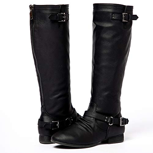 (Women's Block Low Heel Knee High Boots Zipper Closure with Buckle Fashion Riding Boots Black 5.5)
