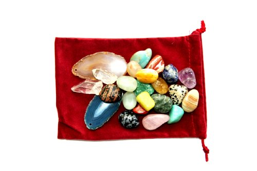 Premium Collection 1/2 Pound of Tumbled Stones, Crystal Points, Citrine Points,and Agate Slices in a Velvet ()