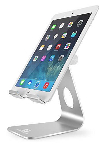 Adjustable Tablet Stand, Pasonomi iPad Stand, Desktop Stand Holder Dock for iPad Pro iPad Air 2 3 4 mini, Samsung Tab S Tab E, Kindle, Nexus, Surface, Switch and Android Tablets (4-13 inch) - Silver