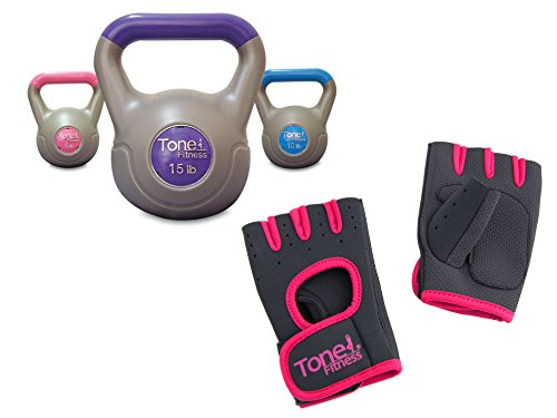 Tone Fitness Workout Padded Weight Lifting Gloves with Tone Fitness Vinyl Kettlebell Set