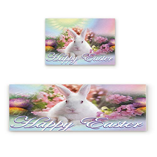 Happy Easter 2 Piece Non-Slip Kitchen Mat Rubber Backing Doormat Runner Rug Set, Kids Area Rug Carpet Bedroom Rug Rabbit Bunny Looking at Me Tropical Flowers Artwork, 15.7''x23.6''+15.7''x47.2'' from Shine-Home
