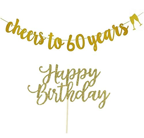 Elegant 60th Birthday Decorations (60th Birthday Banner, 60th Birthday Decorations Gold Glitter, Cheers to 60 Years, with Happy Birthday Cake Topper)