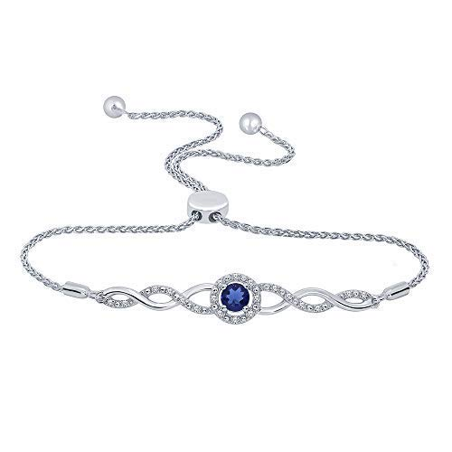 (1/10 ct Round White Diamond Blue Sapphire 925 Sterling Silver Infinity Bolo Strand Bracelet)
