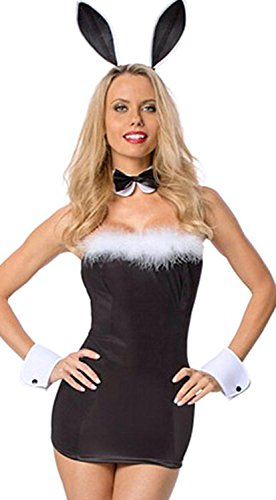 [IF FEEL Women's Sexy Lingerie Bunny Girl Costume Cosplay Bodysuit (One size, Black)] (Tigger Costume Makeup)