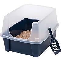 Kit de caja de arena para gatos con tapa abierta y escudo IRIS, azul