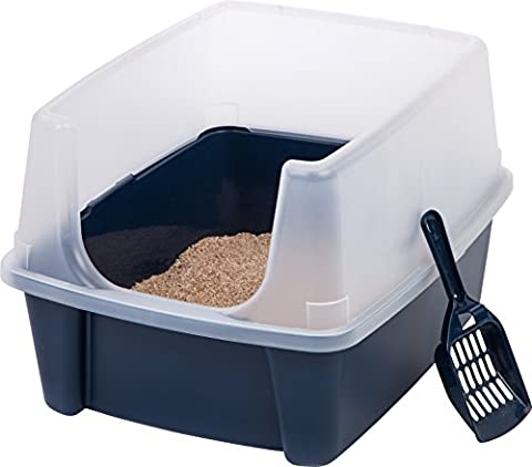 IRIS Open Top Cat Litter Box Kit with Shield and Scoop, Blue - Large Cat Litter Pan