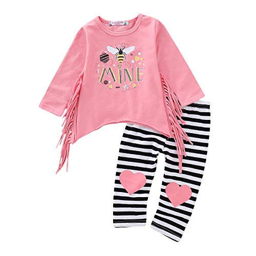 Baby Girl Outfit Set Long Sleeve Floral Shirt Top Striped Pants Fall Winter Clothes for Kids Little Girl Dresses (Pink Blouse Tops + Striped Leggings, 1T / 1 Years Old)