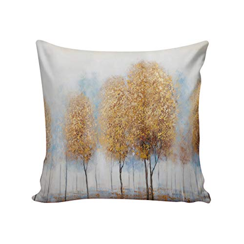 Queen Area Square Pillowcases for Mens Women Girls Boys Luxury Soft Throw Cushion Cover Pillow Sham for Living Room Sofa Bedroom Couch & Bed Golden Forest 26