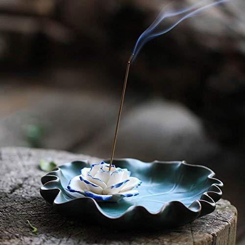 (Ceramic Incense Holders for Sticks - Lotus Flower Incense Burner Holder Ash Catcher (4.92 in))