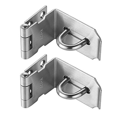 JQK Door Hasp Latch 90 Degree, Stainless Steel Safety Angle Locking Latch for Push/Sliding / Barn Door, 1.5mm Thickness Satin Nickel 2 Pack, 4 Inch by JQK (Image #5)