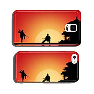 two fighting men near pagoda at sunset cell phone cover case Samsung S6