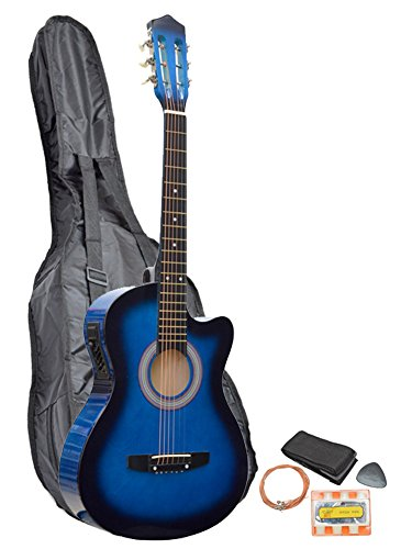 TMS Blue Acoustic Electric Cutaway Guitar with Carry Case, Straps, Tuner, Plectrum