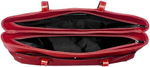 CTM Bolsa mano de la mujer, la mujer de la taleguilla, 32x24x13cm, cuero genuino 100% Made in Italy Rojo (Rosso)