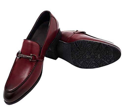 Venetian on Red Men for Slip Shoes Buckle Penny Style Loafers H by Casual Dress Santimon qwzxCfn