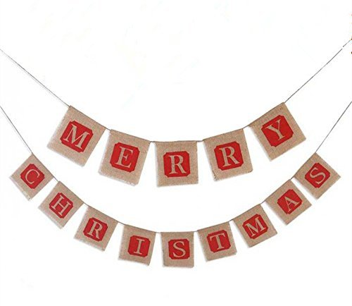 Merry Christmas Jute Burlap Banner Garlands for Holiday Party Decoration