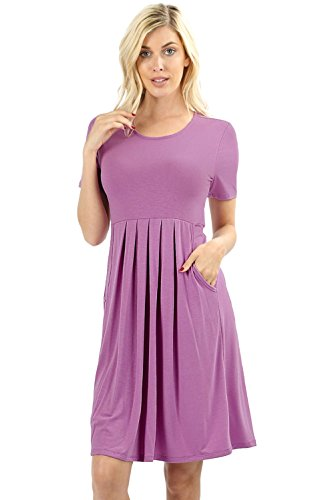 Women's Pleated Swing Dress Short Sleeve Casual T Shirt Loose Dress with Pockets - Dark Mauve -