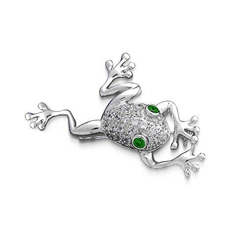 Garden Frog Brooch Pin For Women Green Eye Cubic Zirconia CZ 925 Silver