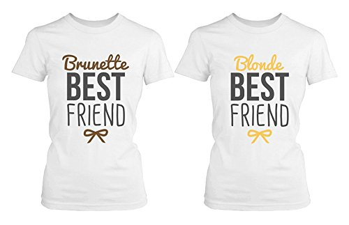 Best Friend Shirts - Blonde and Brunette Best Friends Matching BFF White ()