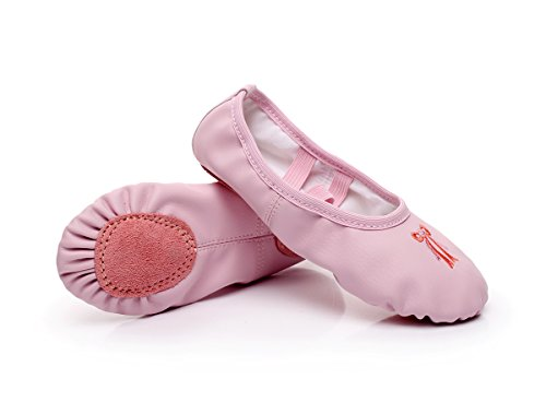 Ballet Slipper Embroidery Shoes Pointe Leather Split Sole Practice Ballet Dancing Gymnastics Shoes Ballet Flat Slipper Yoga Shoes for Girls US 8.5 Pink by WELOVE