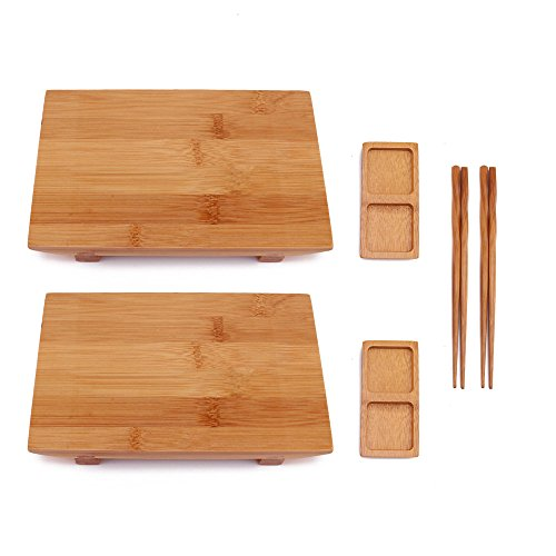 BambooMN Bamboo Sushi Board Tray, Chopsticks and Compartment Sauce Dish, 11.4