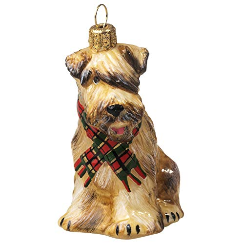 Joy To The World Soft Coated Wheaten Terrier with Scarf Blown Glass Polish Ornament from