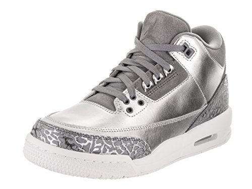 Jordan Nike Women's Air 3 Retro Prem HC Metallic/Silver/Cool/Grey Basketball Shoe 10.5 Women US by Jordan