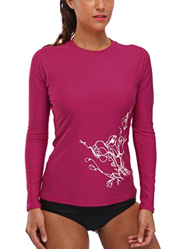 4e96922b9f5 Vegatos Women's Long Sleeve Rash Guard Swimsuit UPF 50+ Rashguard hirt  Berry S