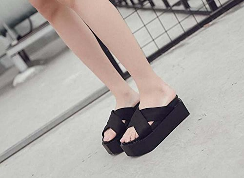 Soles Shoes Toe Sandals Flat Open Black 34 Slippers Strap Casual Platform Thick Shoes Irregular Women 39 Cool Size Eu Cross Slippers gqYBw6