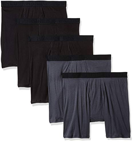 Hanes Ultimate Men's FreshIQ Odor Protection 5-Pack Boxer Brief, Black/Grey, Large