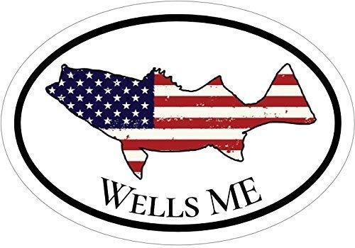 (ION Graphics Maine Decal - American Flag Striped Bass Wells, ME Vinyl Sticker - Maine Bumper Sticker - Wells Beach Stickers - Perfect Mainer State Gift - Made in The USA Size: 4.7 x 3.3 inch)