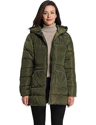 (iLoveSIA Women's Down Alternative Quilted Padded Thicken Puffer Coat with Hood Green G2 Size 12)