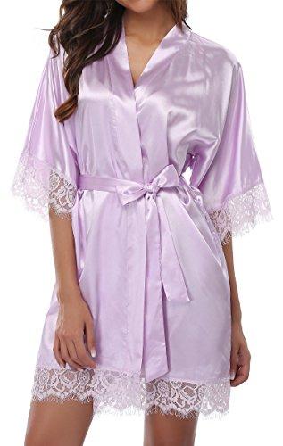 Giova Women's Lace Trim Kimono Robe Nightwear Nightgown Sleepwear Satin Short Robe Lavendar X-Large