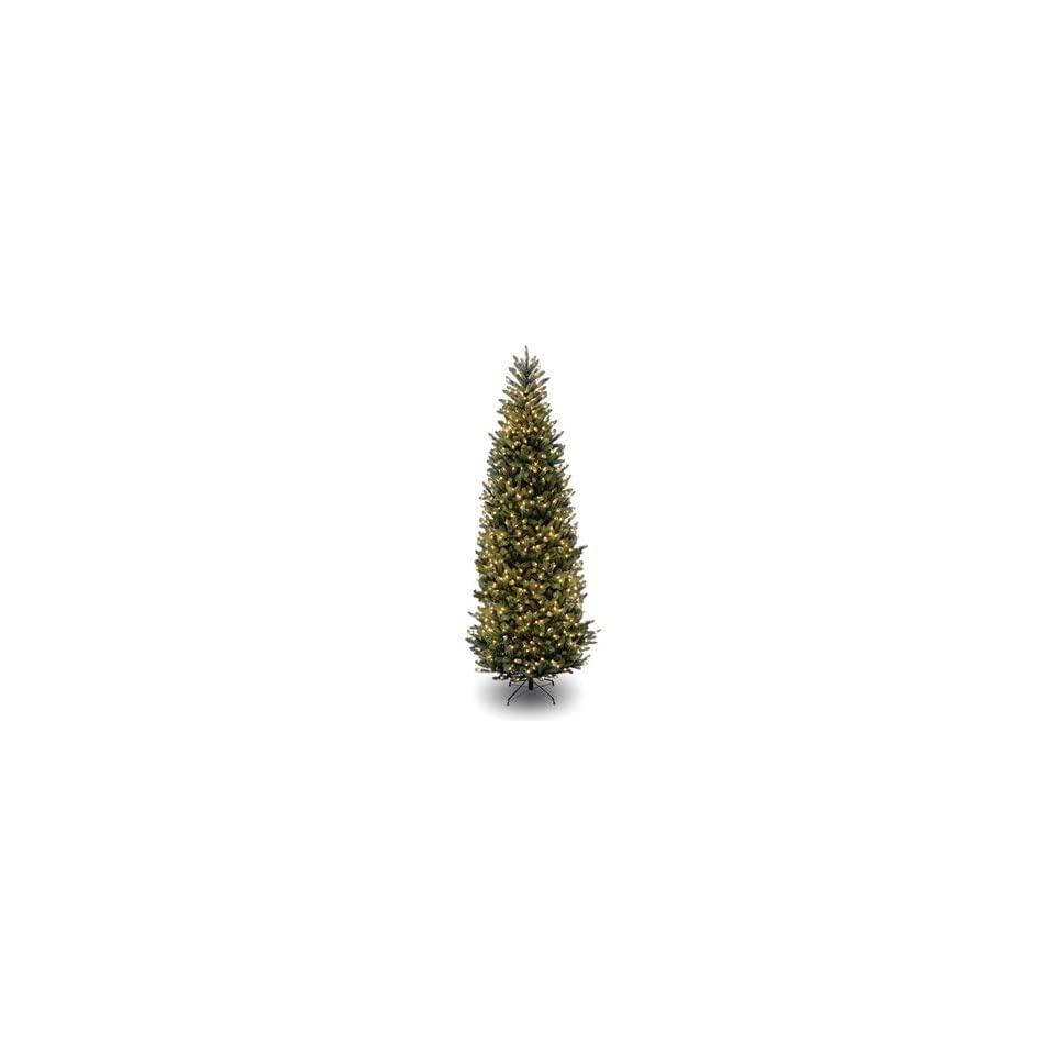 12 Natural Fraser Slim Fir Hinged Christmas Tree; 1200 Clear Lights UL