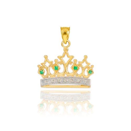 Fine 14k Yellow Gold Emerald and Diamond Royal Crown Tiara Bracelet - 14k White Crown Charm Gold