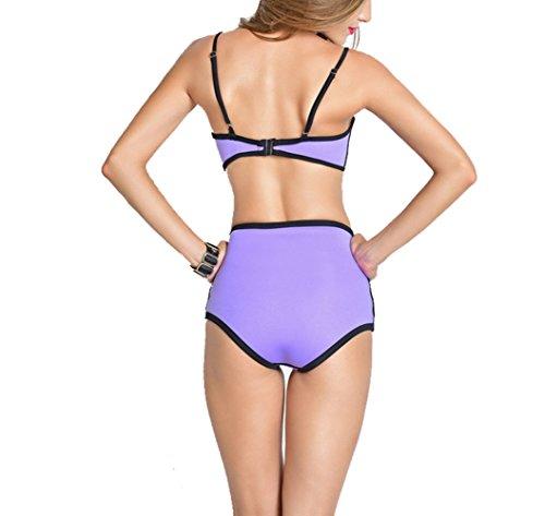 SOMMRY Bikini Set zweiteilig Schönes Push up reizvolle Schwimmanzug Frauen Sport Tankini Hohe Taille Mädchen Bademode Strand Lila Badeanzüge Oberteile und Höschen (Mit Bügel)